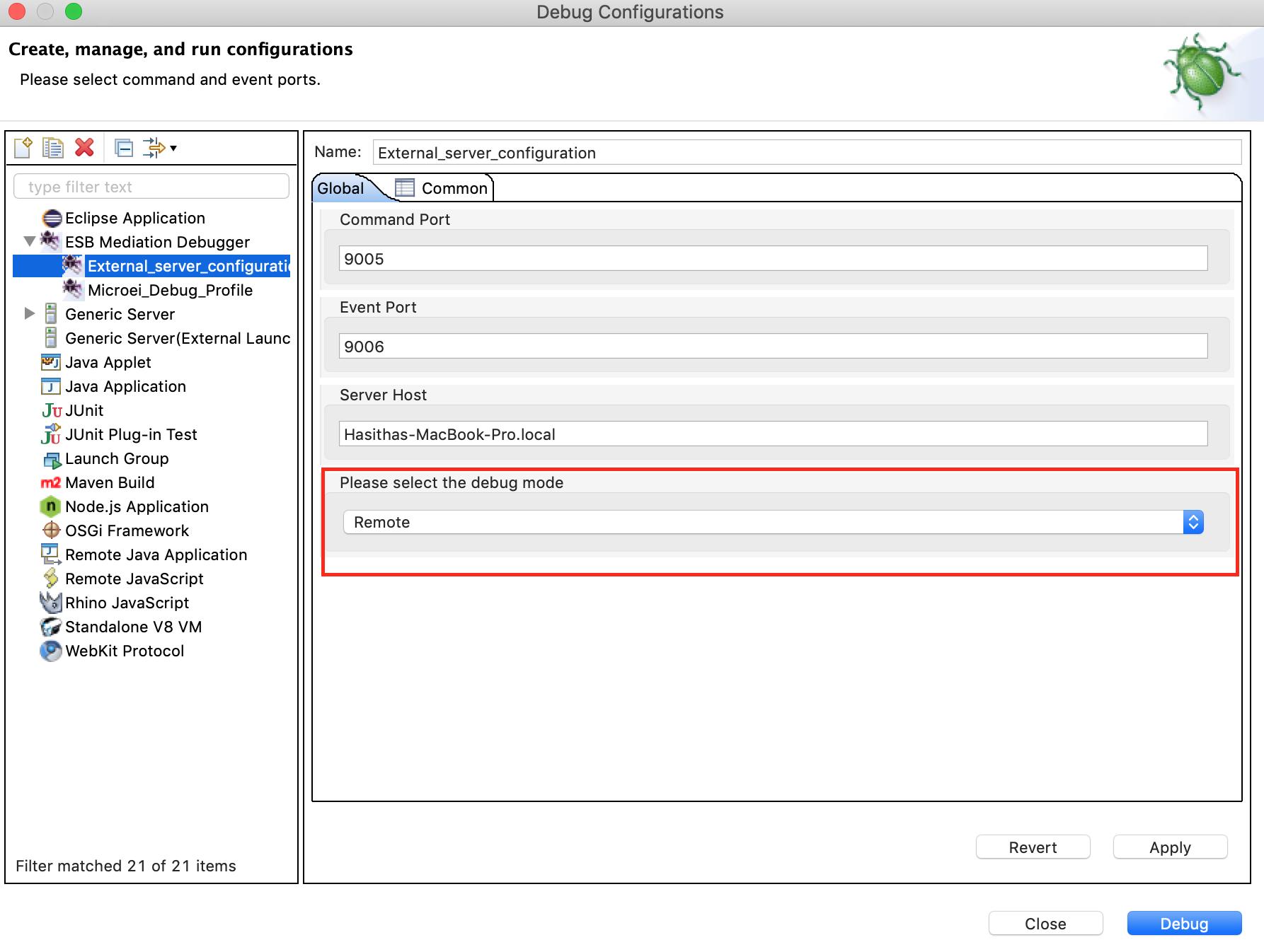 select debugging