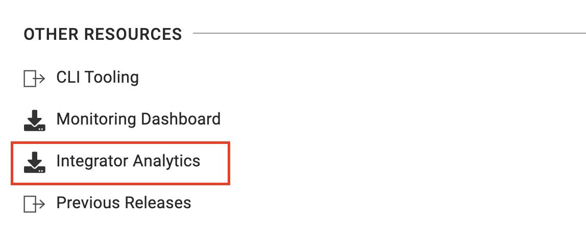 Integration Analytics download menu