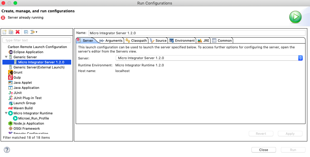 run configurations dialog box