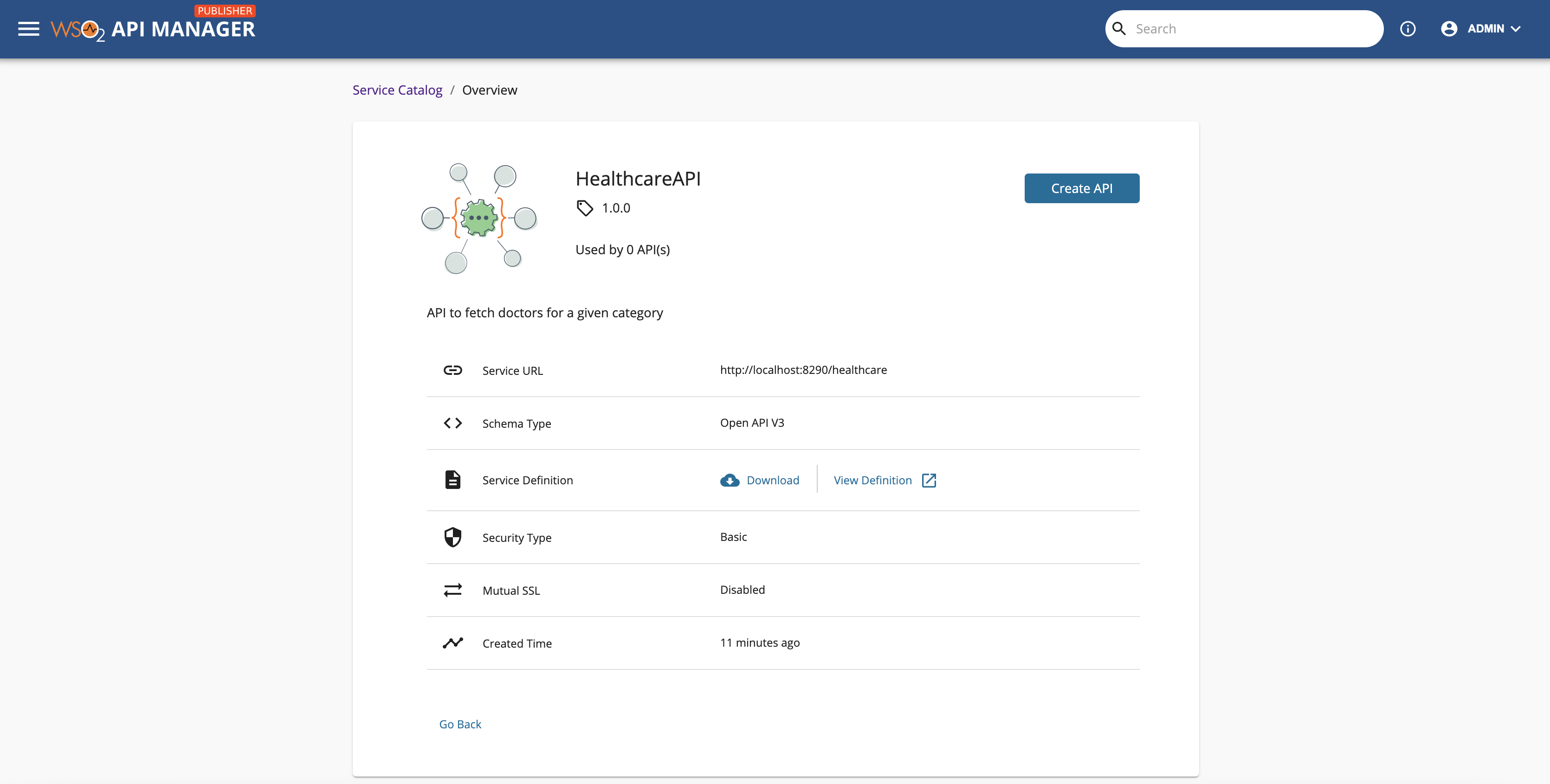 API created from service catalog