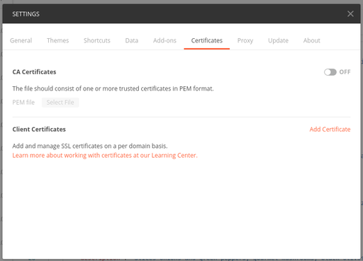 Add the certificate to Postman