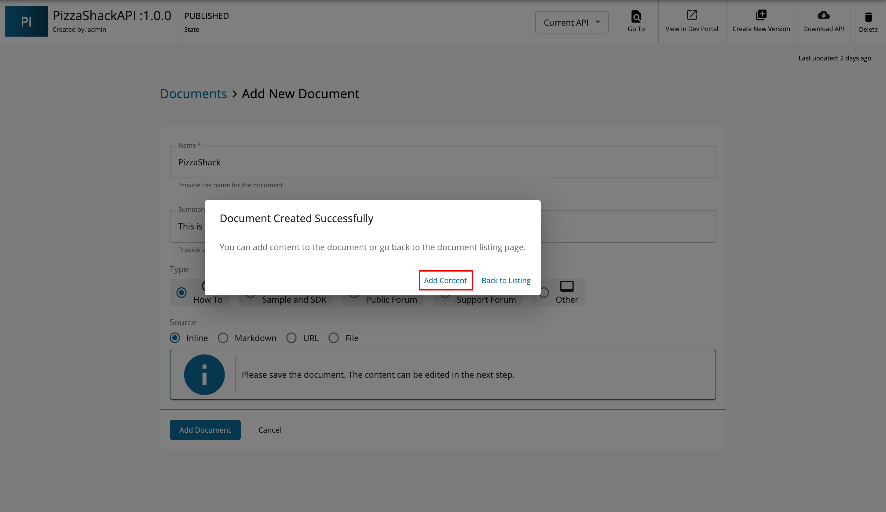 Add content to inline document