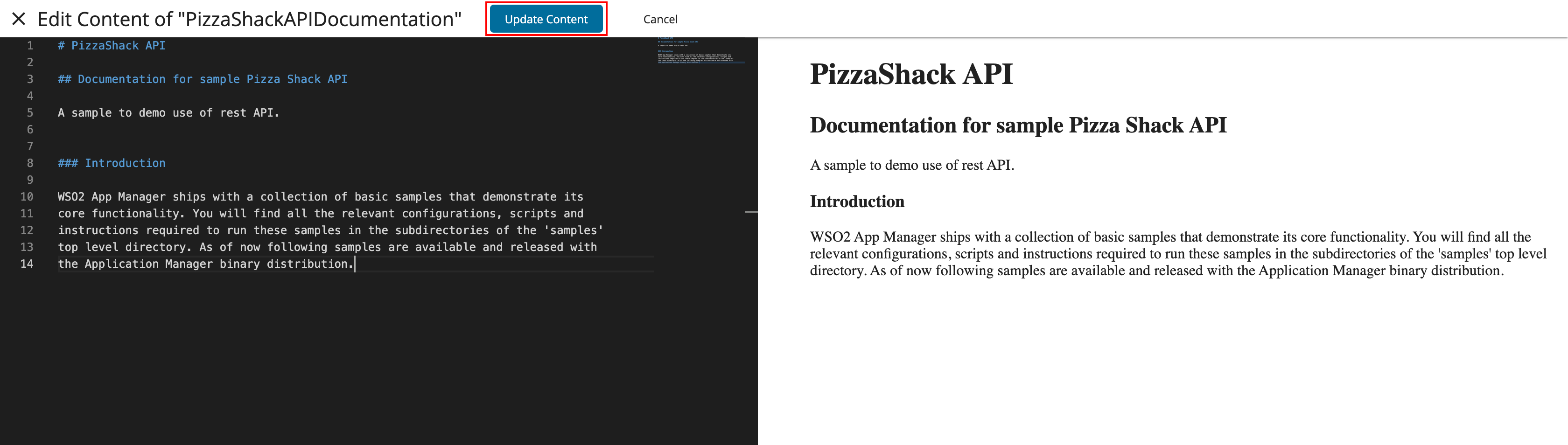 Update content for Markdown documentation