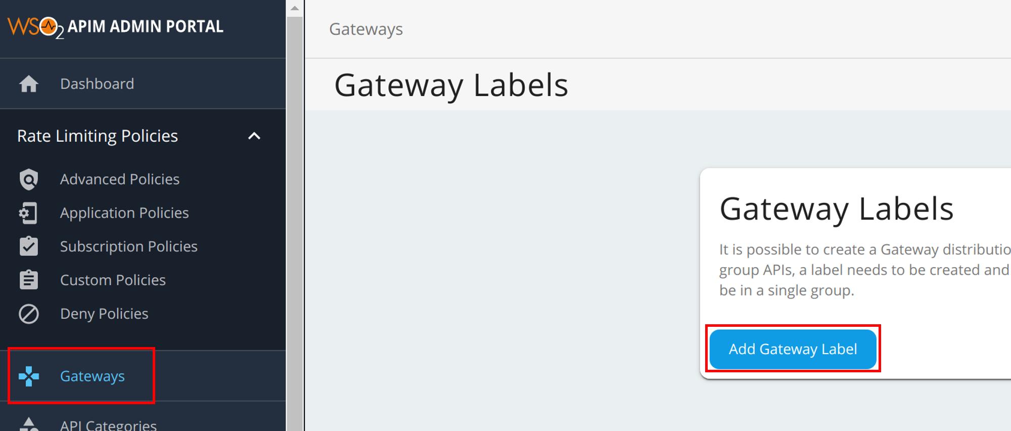 Menu to add Microgateway label