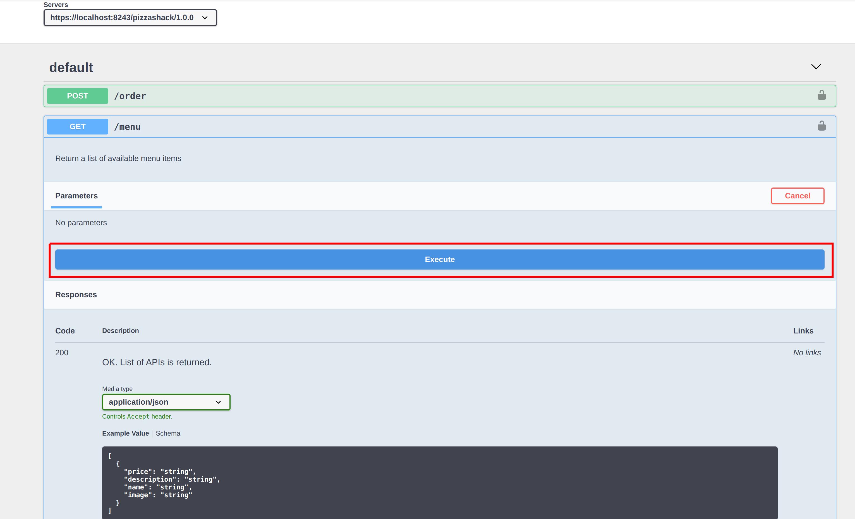 API console execute