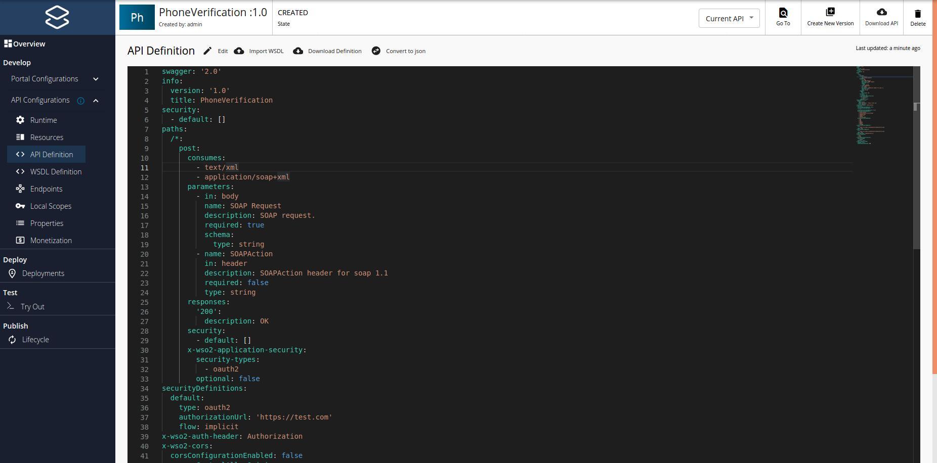 API definition of SOAP API created by Pass-through mode
