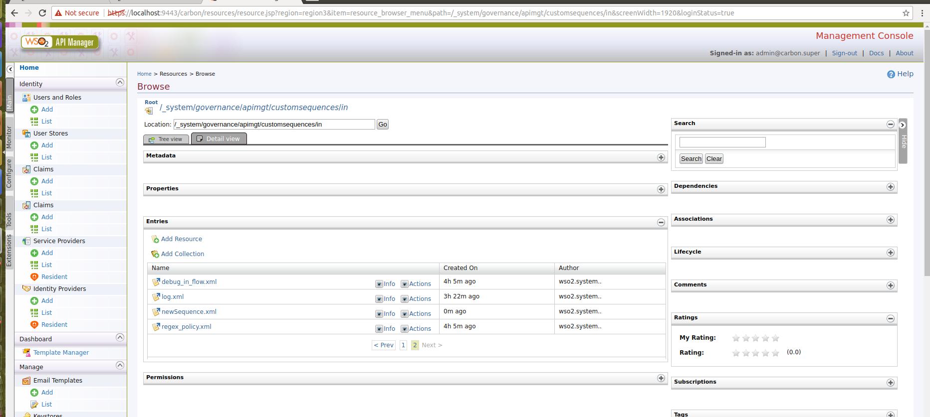API Manager Management Console