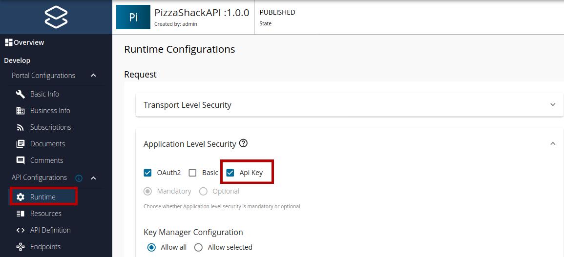 Configure API key authentication