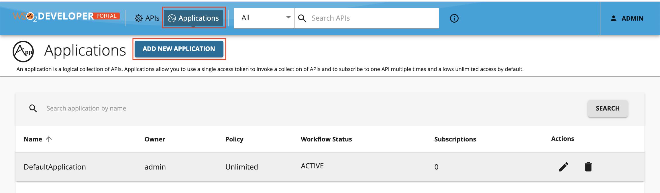 Add new application option