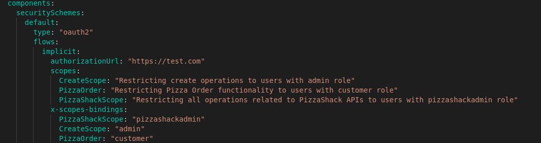 Scopes Security Definition API Definition
