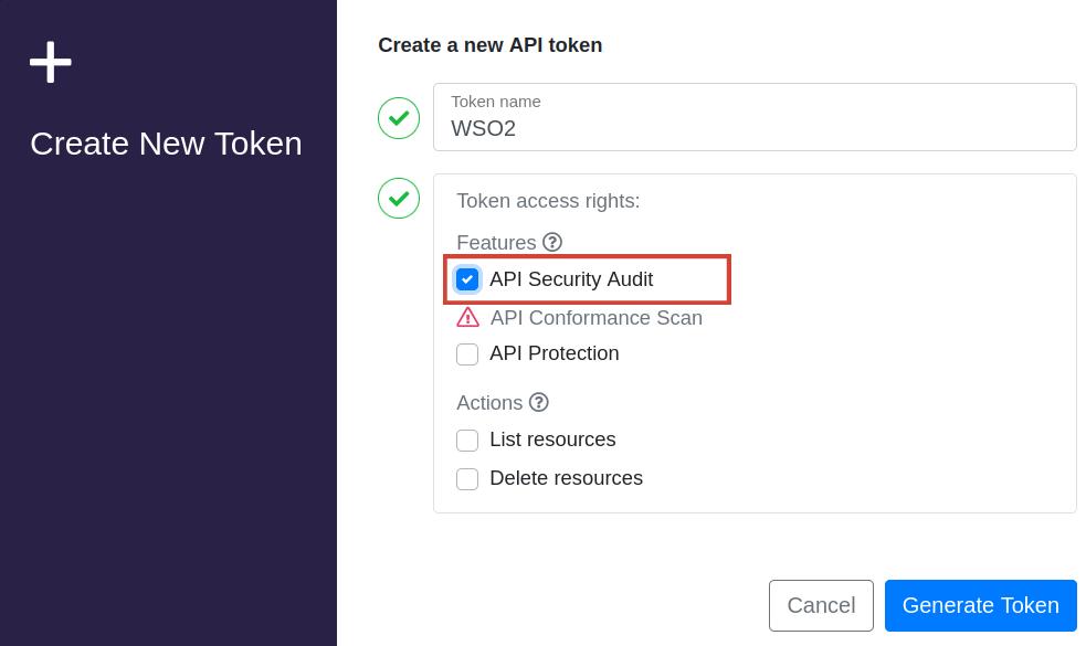 API token dialog box
