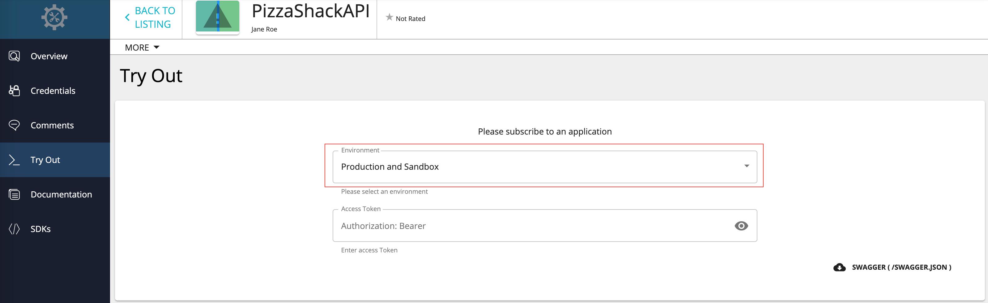 API tryout tab