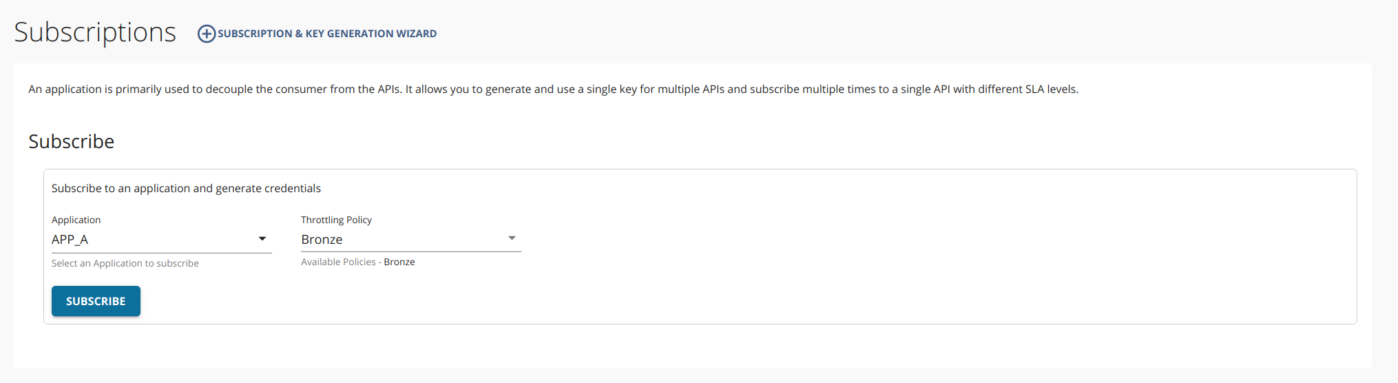 Subscribe to the default API
