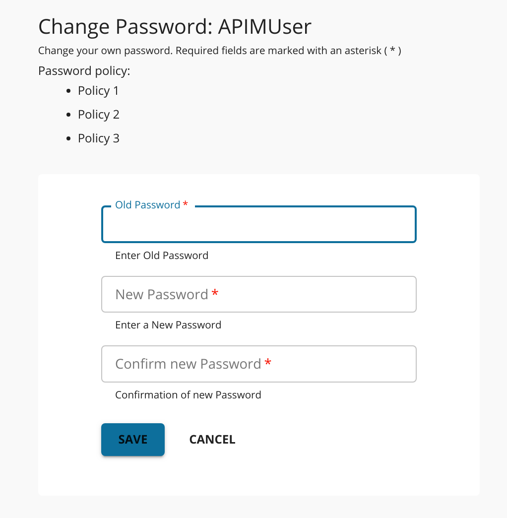 Displaying Developer Portal password policy guidelines
