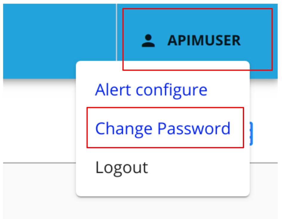 Change Developer Portal password User Menu