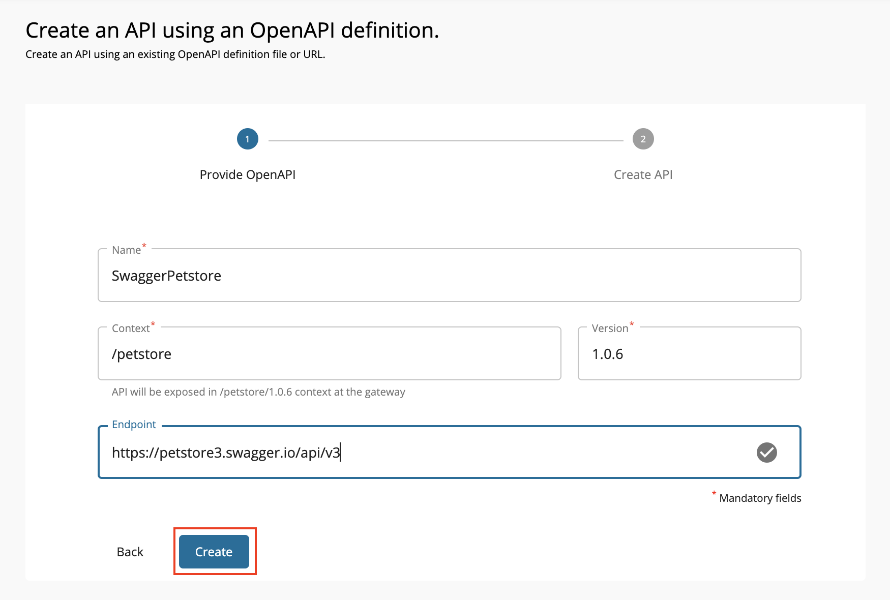 Create a REST API using swagger definition