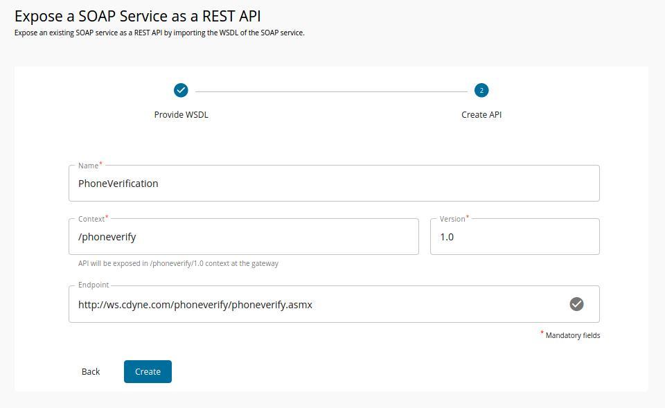 Create SOAP API form