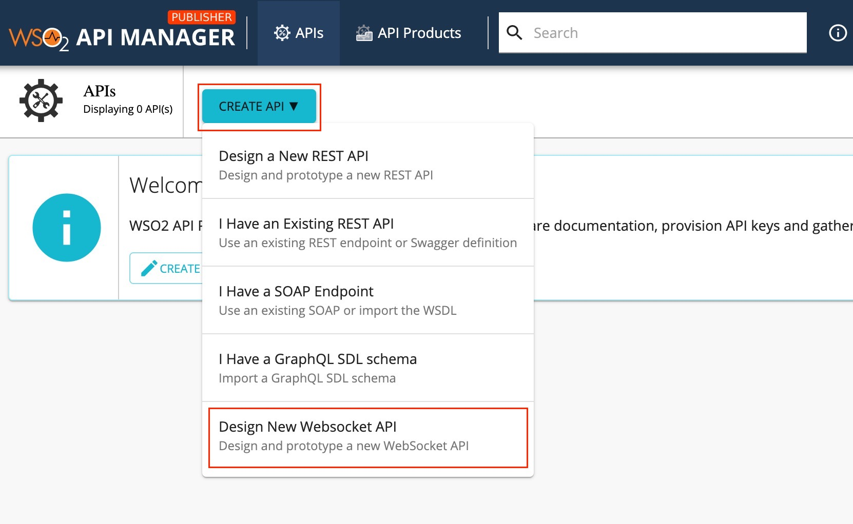 Create WebSocket API menu