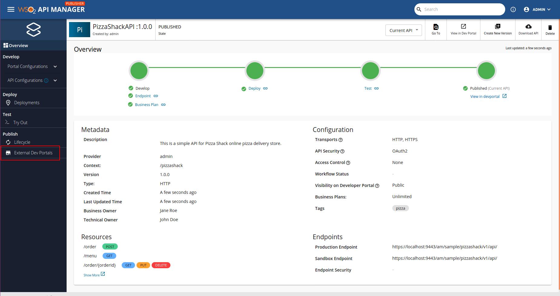 List External Developer Portal
