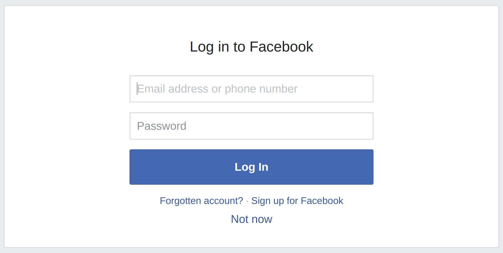 Login to facebook