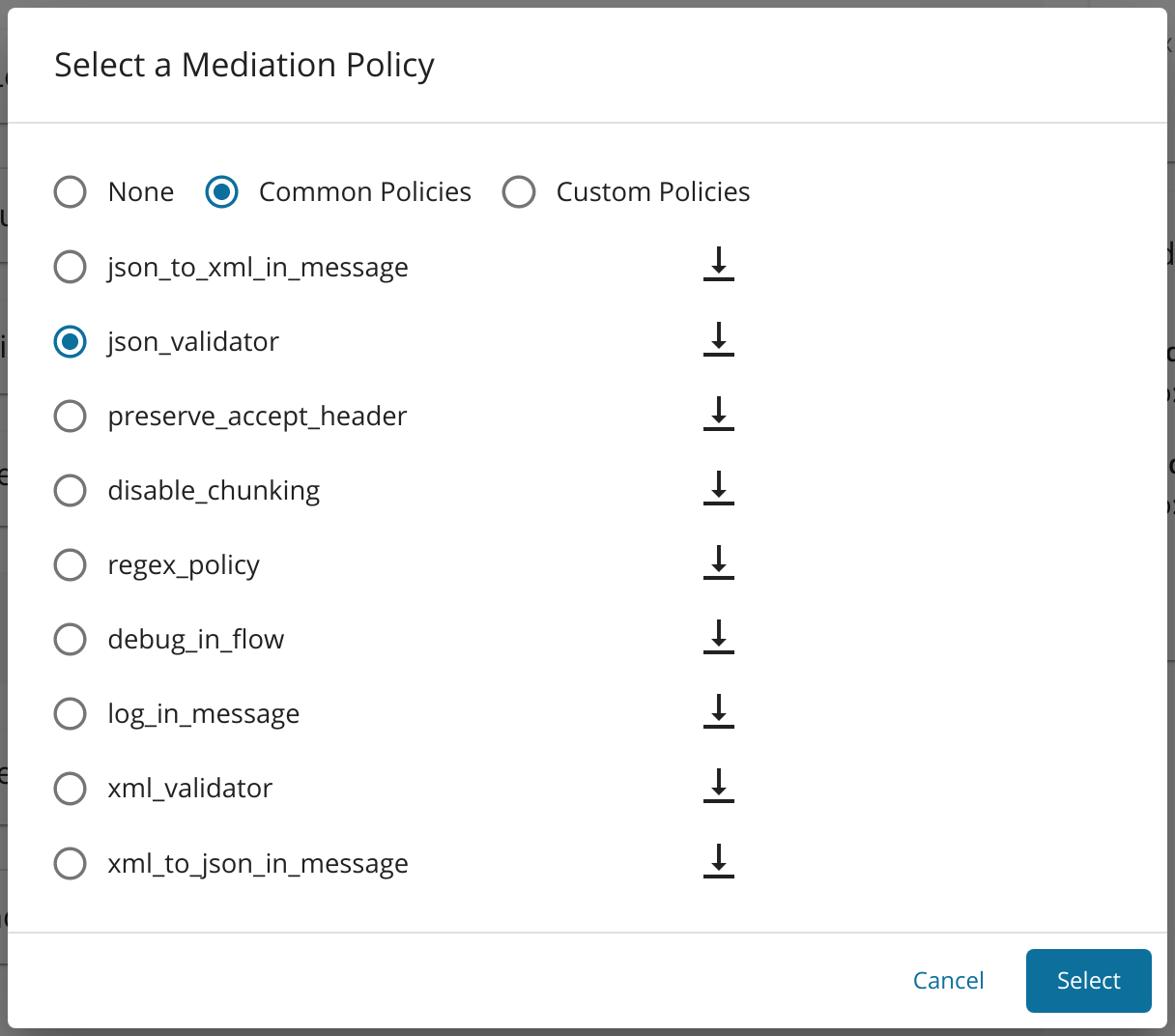 Select JSON validator from the drop-down menu