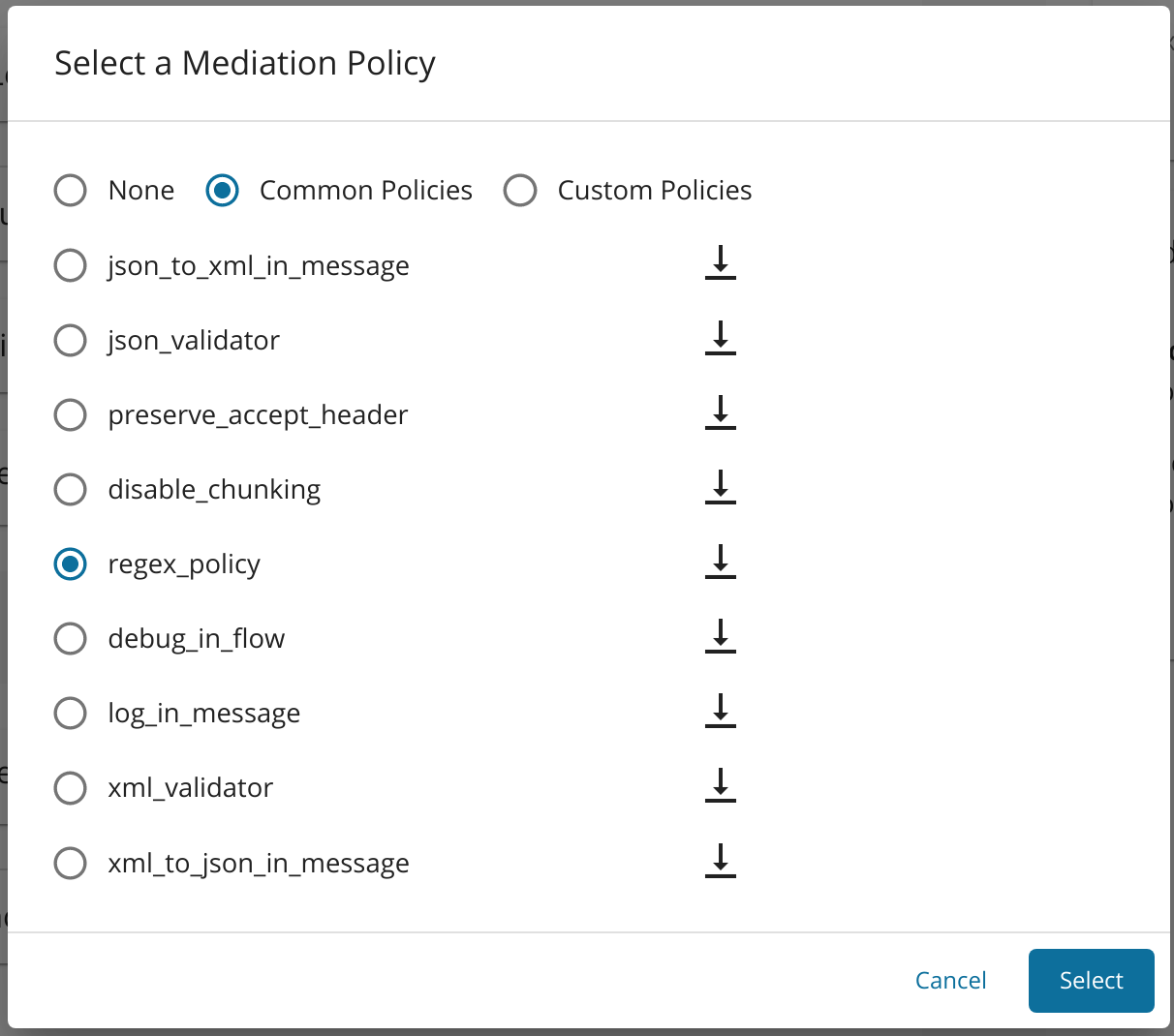 Select Regex policy from the drop-down menu
