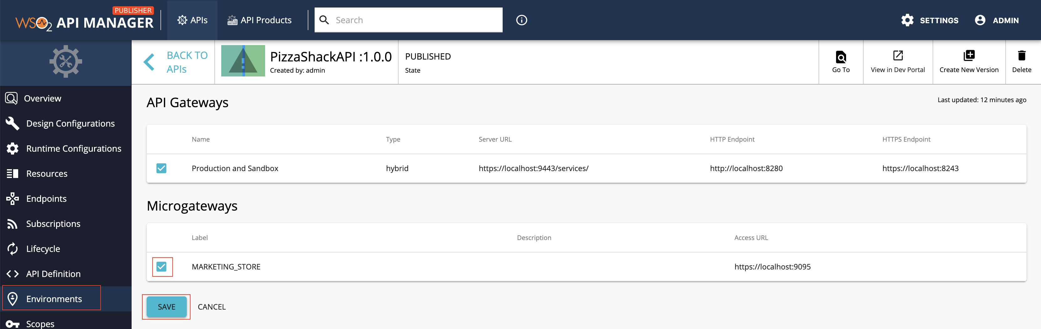 Microgateway label in the Publisher