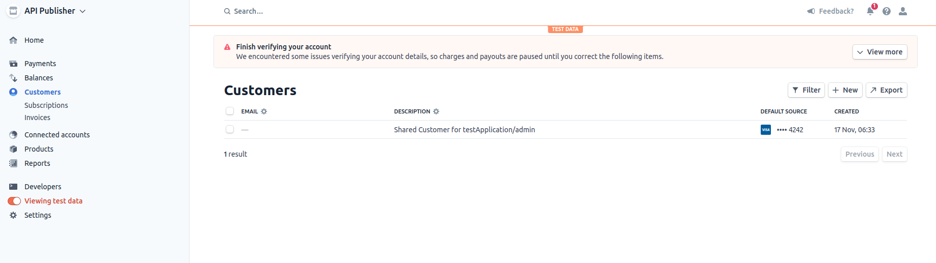 Shared customer in connected account