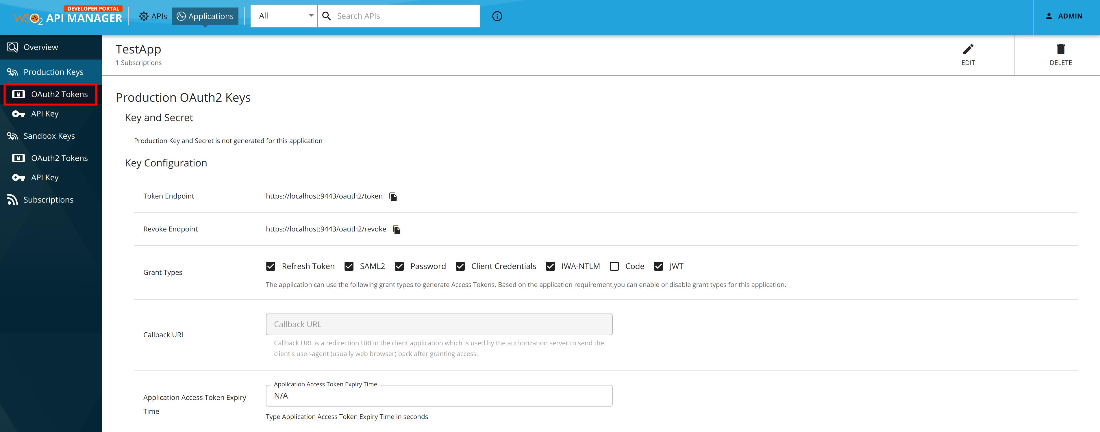 Navigate to OAuth Token