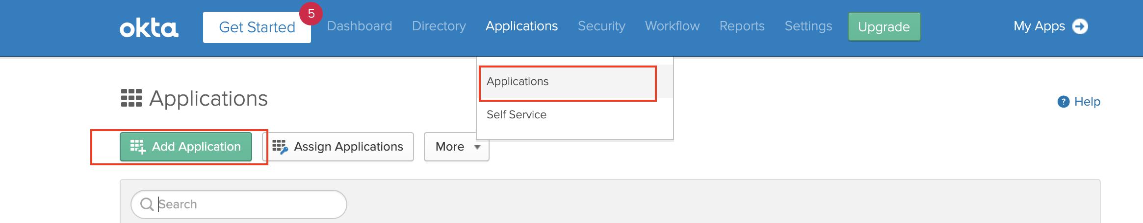 Add new Okta SAML application