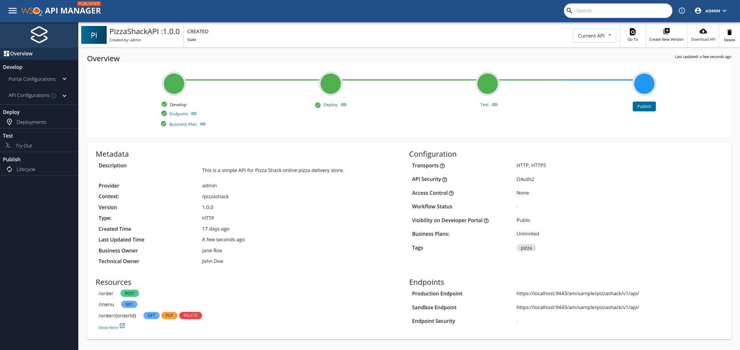 API overview page
