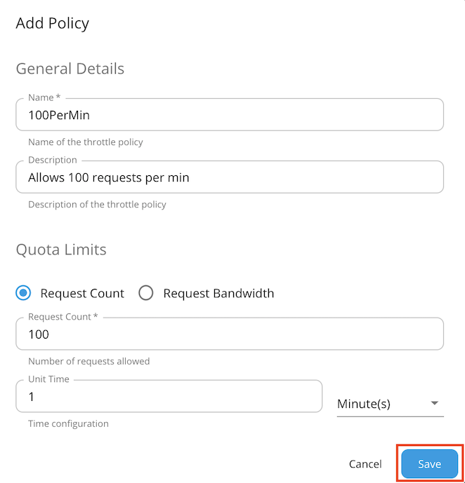 Add application policy page