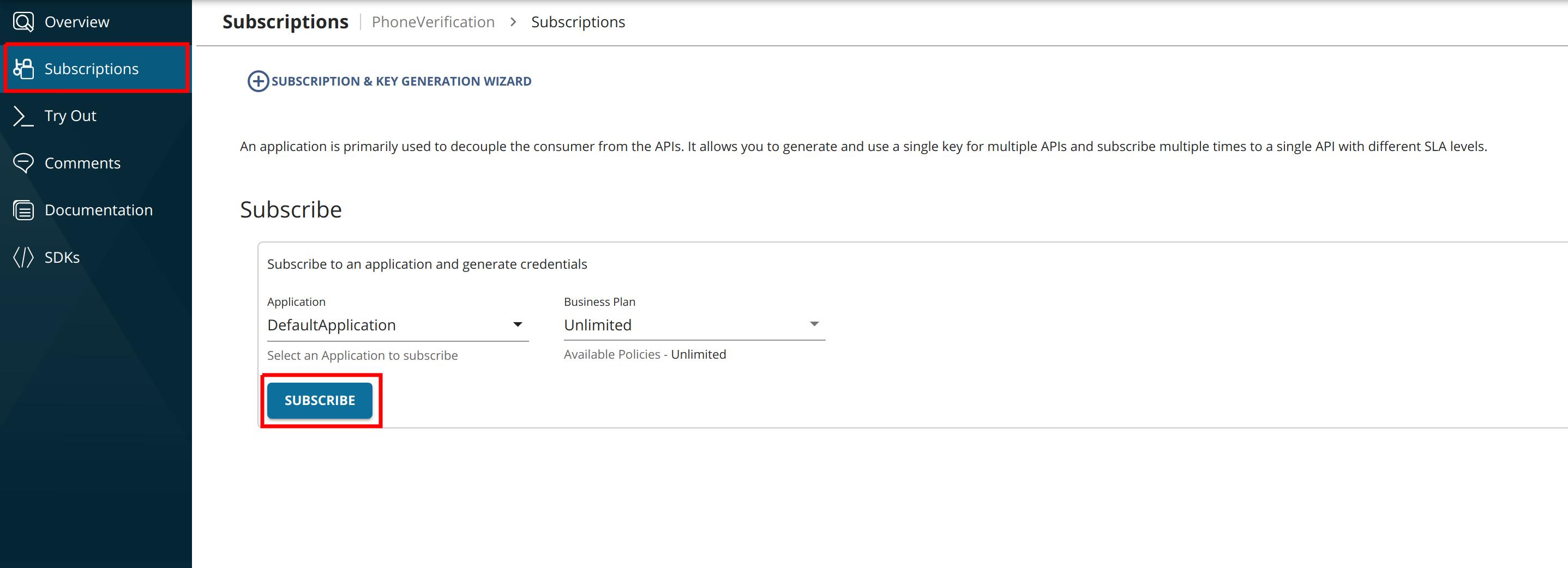 Subscribe to Phone Verification API