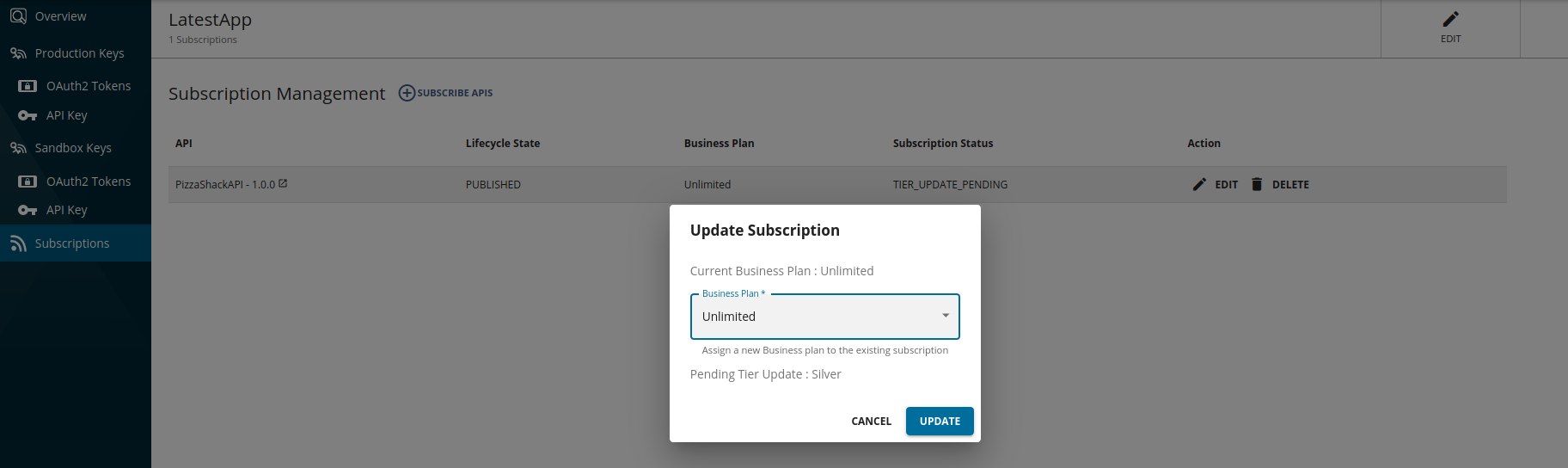 Subscription Update New Tier Request