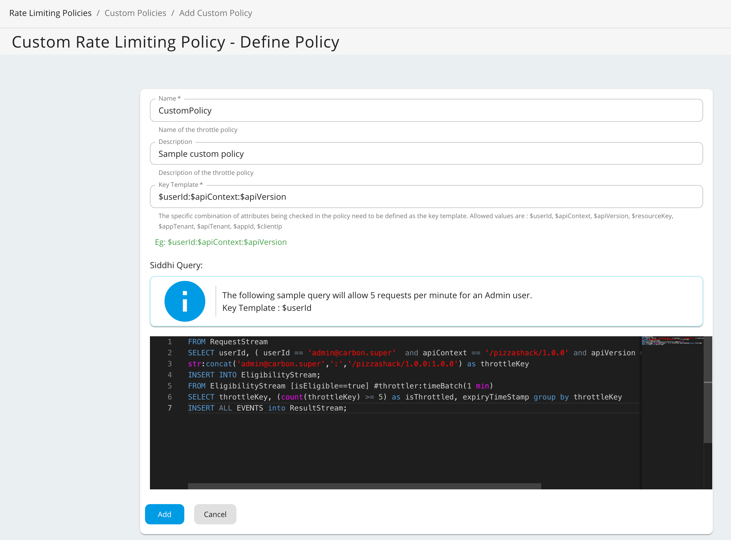 Add Custom policy page