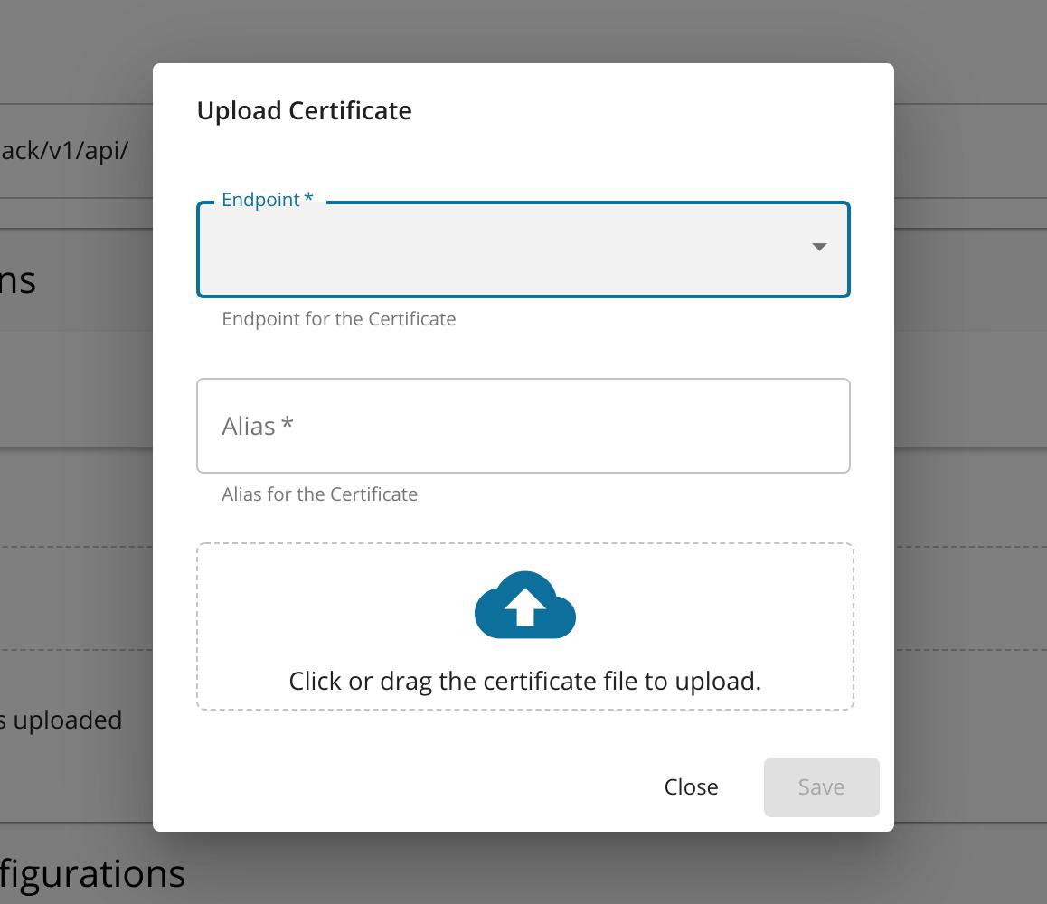 Upload Certificate Dialog