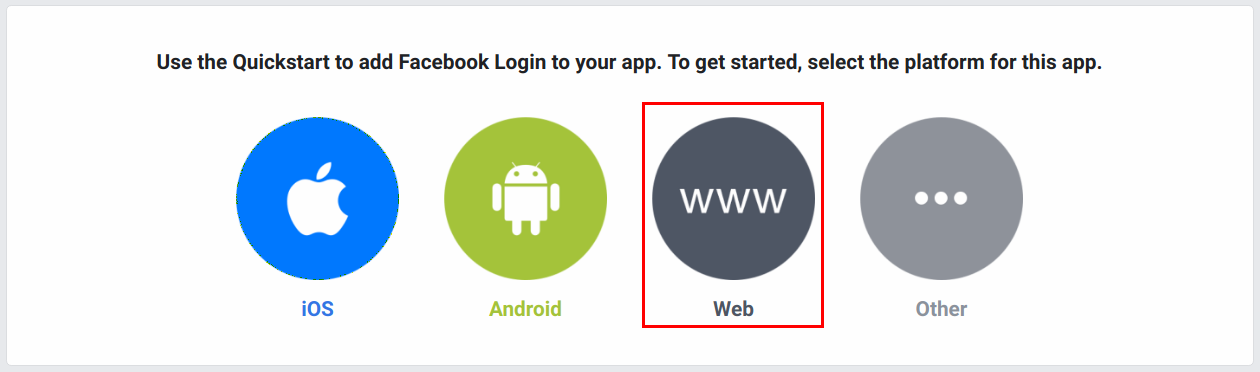 Setup facebook login product