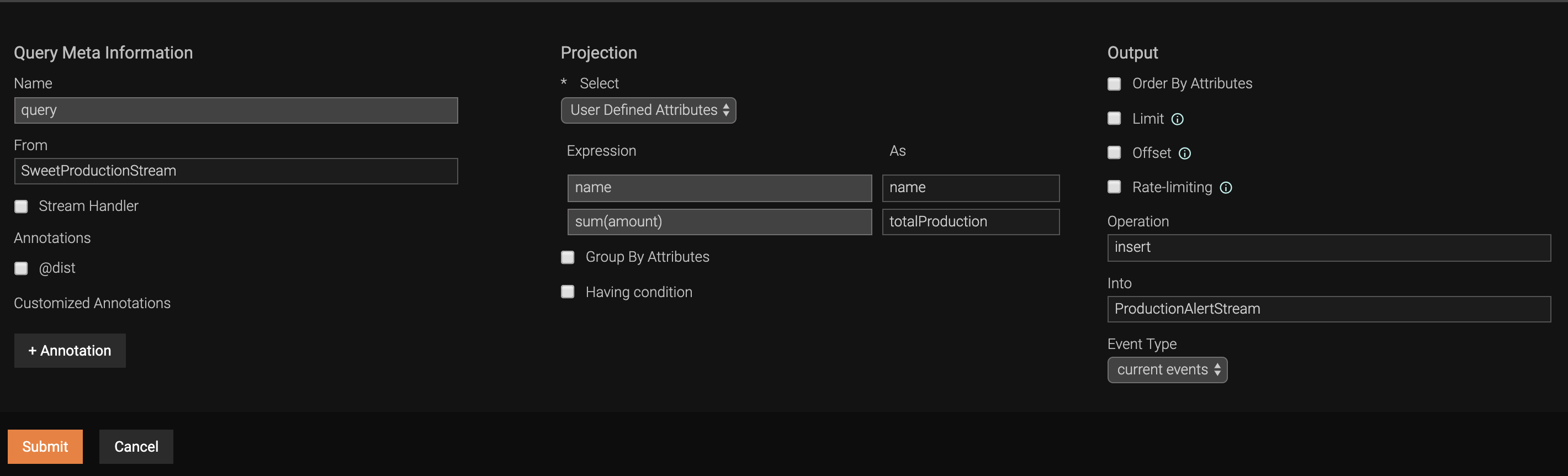 Configuring the projection query