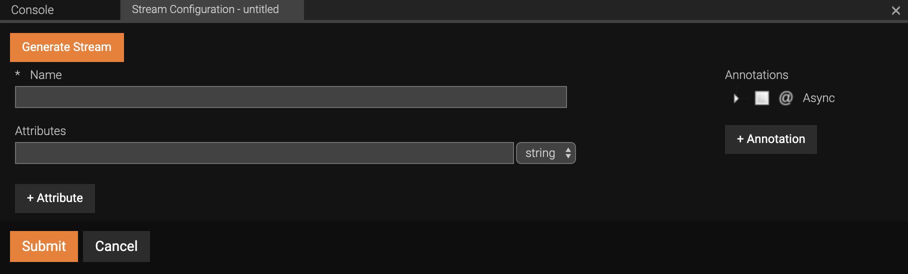 Stream Configuration form