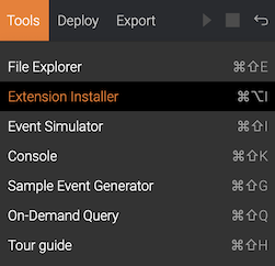Extensions Installer option in the Tools menu