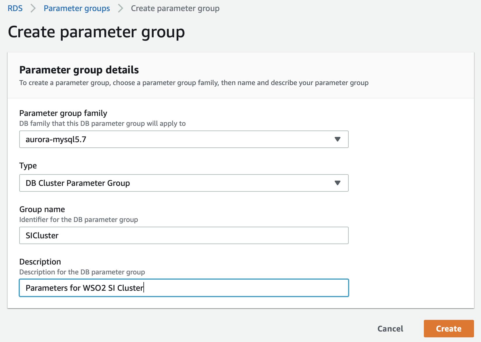 Create New Parameter Group