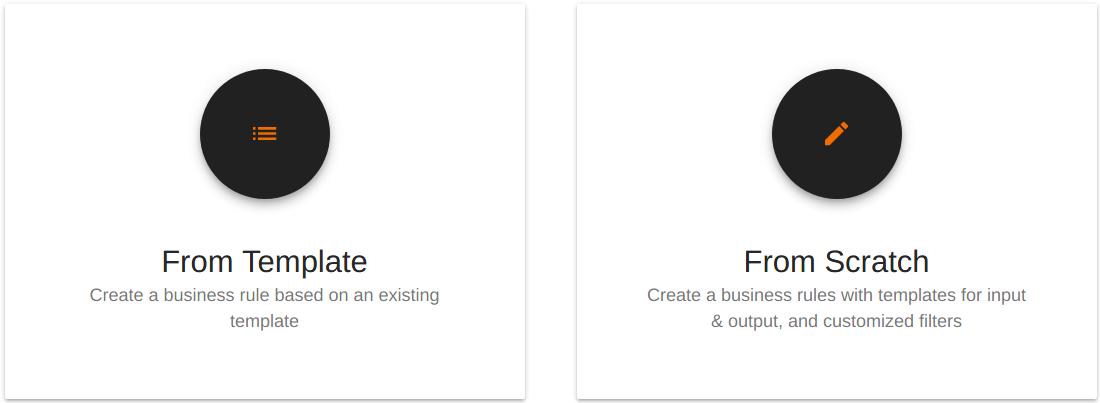 Select business rule creation method