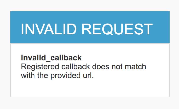 Invalid callback url error