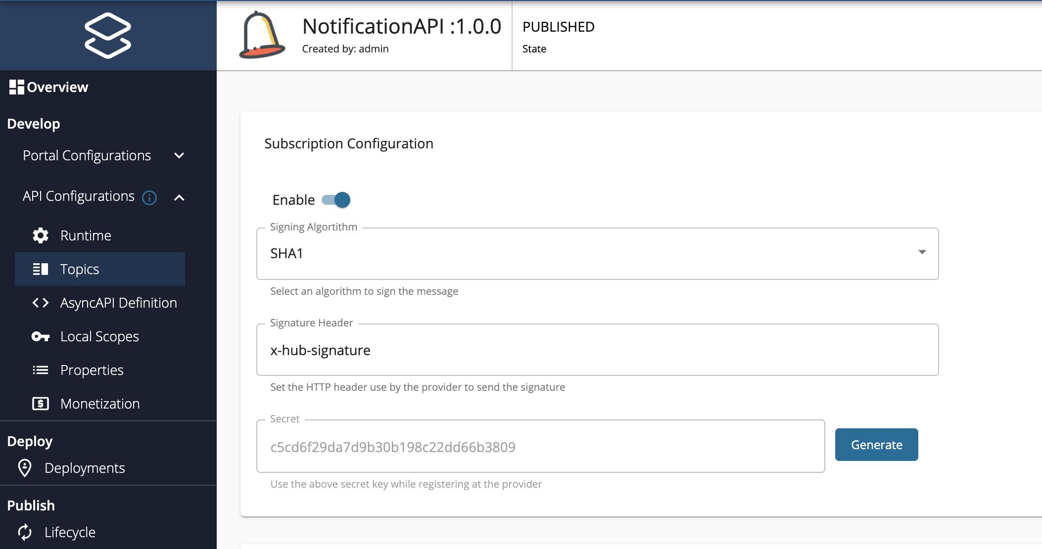 Subscription Configuration