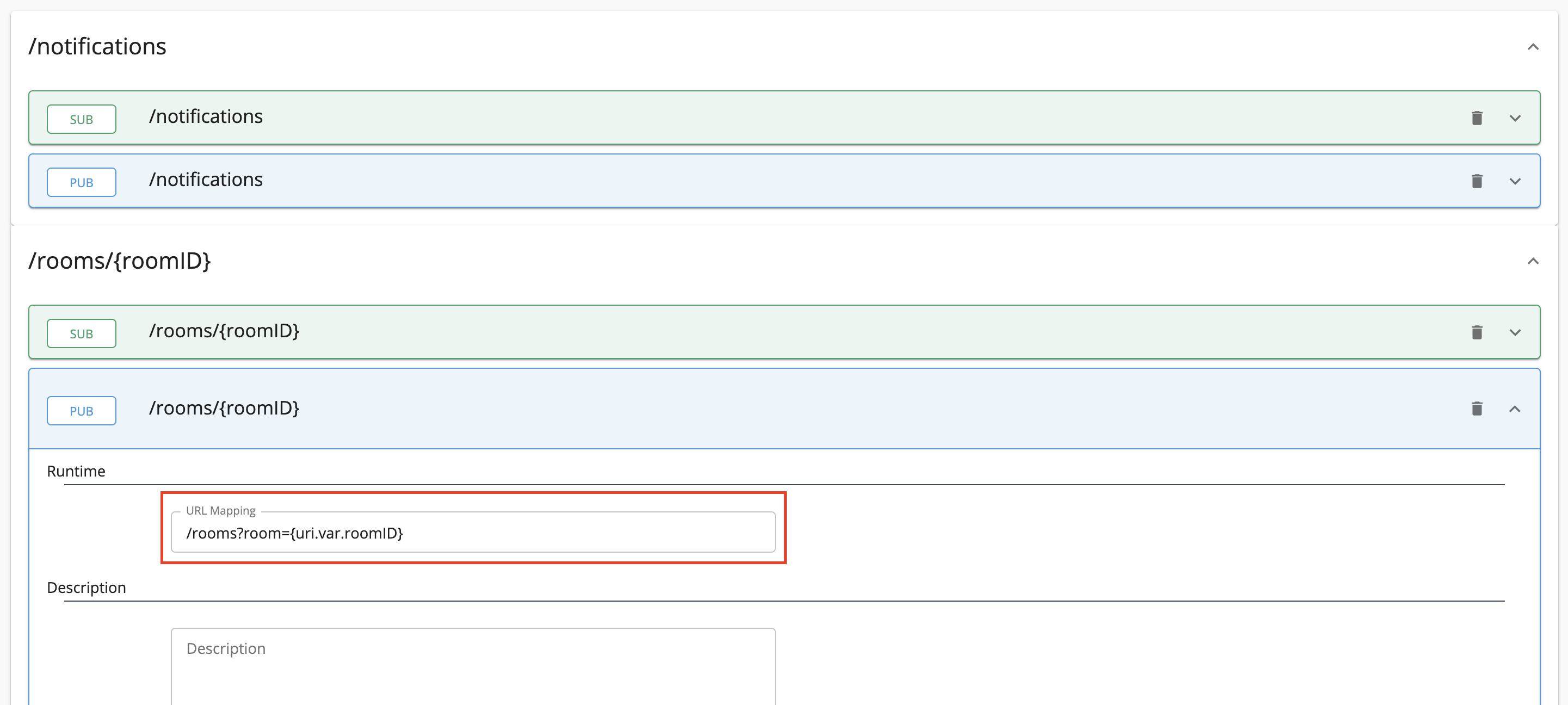 Add URL Mappings to WebSocket API Topics