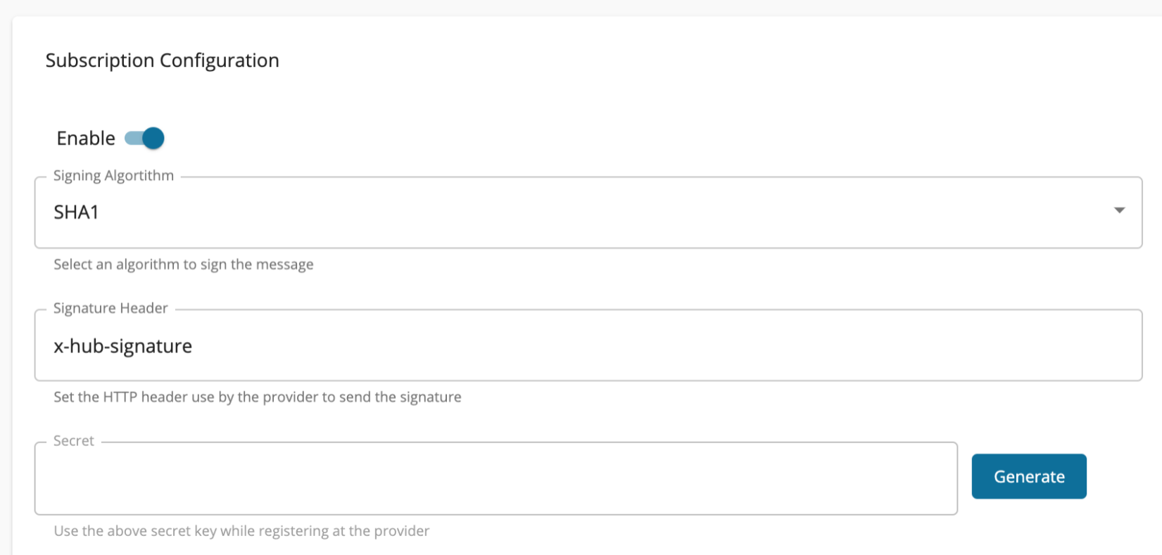 WebSub API Generate Secret