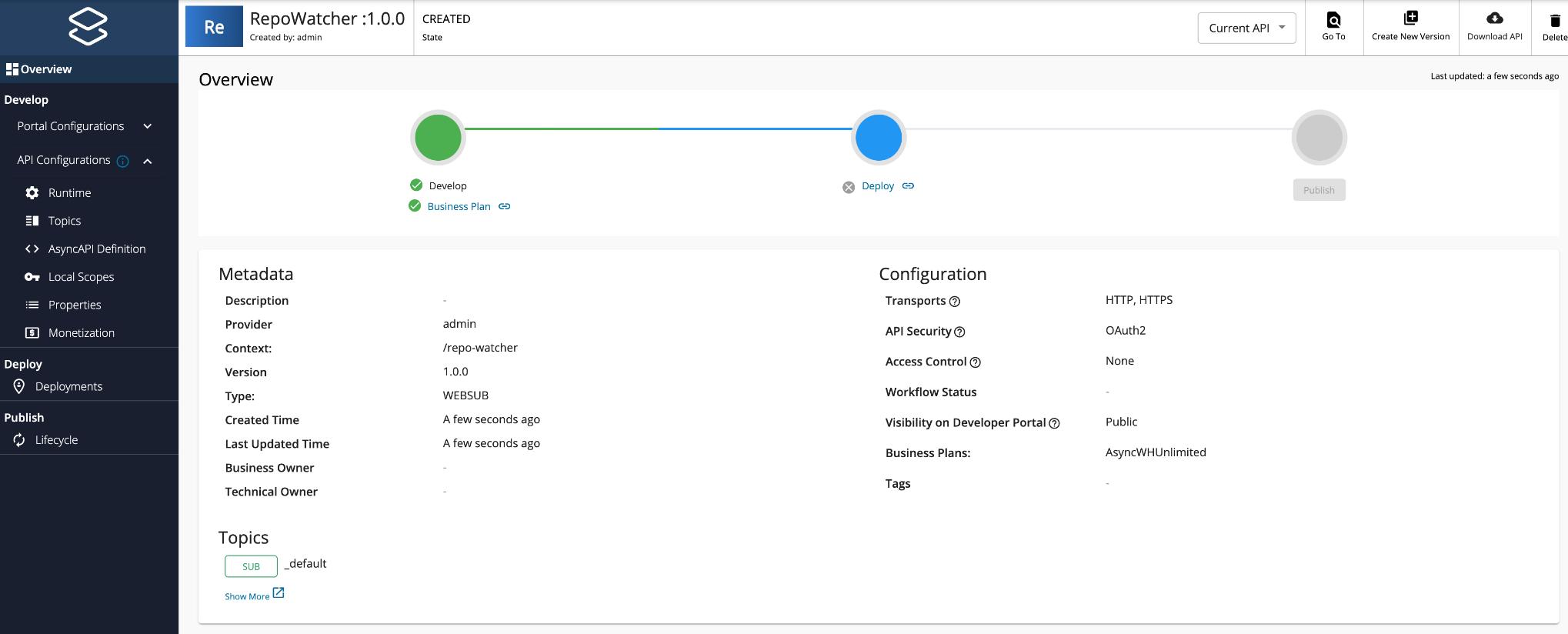 Overview of WebSub API